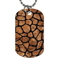 Skin1 Black Marble & Brown Stone Dog Tag (one Side) by trendistuff