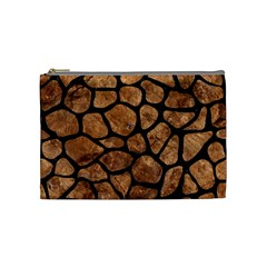 Skin1 Black Marble & Brown Stone Cosmetic Bag (medium) by trendistuff