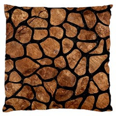 Skin1 Black Marble & Brown Stone Large Cushion Case (two Sides)