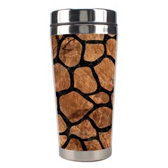 Skin1 Black Marble & Brown Stone Stainless Steel Travel Tumbler by trendistuff
