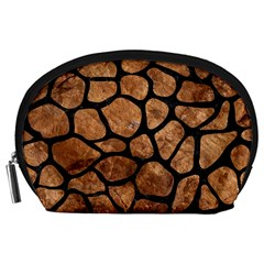 Skin1 Black Marble & Brown Stone Accessory Pouch (large) by trendistuff