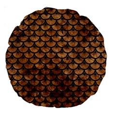 Scales3 Black Marble & Brown Stone (r) Large 18  Premium Round Cushion  by trendistuff