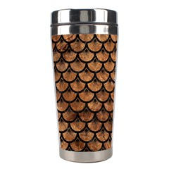 Scales3 Black Marble & Brown Stone (r) Stainless Steel Travel Tumbler by trendistuff
