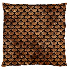Scales3 Black Marble & Brown Stone (r) Large Flano Cushion Case (one Side) by trendistuff