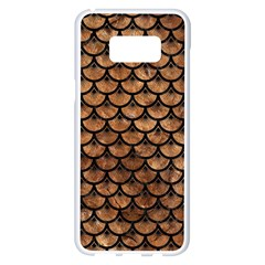 Scales3 Black Marble & Brown Stone (r) Samsung Galaxy S8 Plus White Seamless Case
