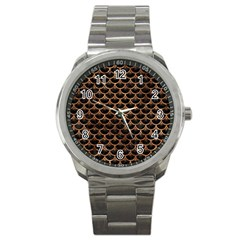 Scales3 Black Marble & Brown Stone Sport Metal Watch by trendistuff