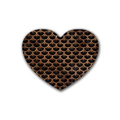 Scales3 Black Marble & Brown Stone Rubber Coaster (heart) by trendistuff