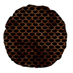 Scales3 Black Marble & Brown Stone Large 18  Premium Flano Round Cushion  by trendistuff