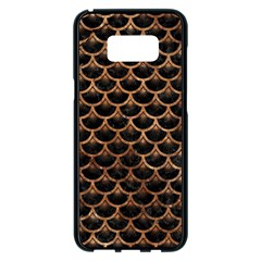 Scales3 Black Marble & Brown Stone Samsung Galaxy S8 Plus Black Seamless Case by trendistuff
