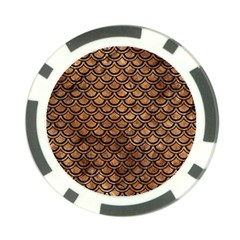 Scales2 Black Marble & Brown Stone (r) Poker Chip Card Guard by trendistuff