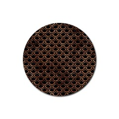 Scales2 Black Marble & Brown Stone Rubber Round Coaster (4 Pack) by trendistuff