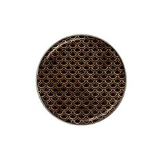 Scales2 Black Marble & Brown Stone Hat Clip Ball Marker by trendistuff