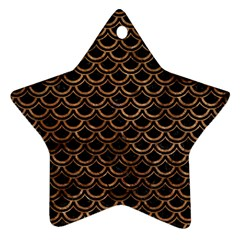 Scales2 Black Marble & Brown Stone Star Ornament (two Sides) by trendistuff