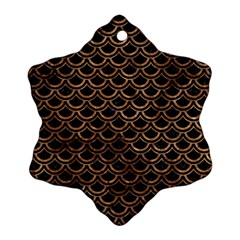 Scales2 Black Marble & Brown Stone Snowflake Ornament (two Sides) by trendistuff