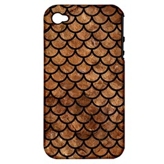 Scales1 Black Marble & Brown Stone (r) Apple Iphone 4/4s Hardshell Case (pc+silicone) by trendistuff