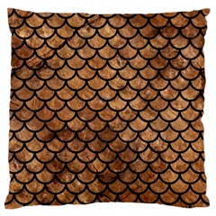 Scales1 Black Marble & Brown Stone (r) Large Flano Cushion Case (one Side) by trendistuff