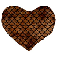 Scales1 Black Marble & Brown Stone (r) Large 19  Premium Flano Heart Shape Cushion by trendistuff
