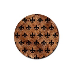 Royal1 Black Marble & Brown Stone Rubber Coaster (round) by trendistuff