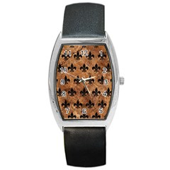 Royal1 Black Marble & Brown Stone Barrel Style Metal Watch by trendistuff