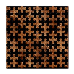 Puzzle1 Black Marble & Brown Stone Tile Coaster by trendistuff