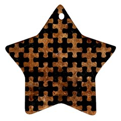 Puzzle1 Black Marble & Brown Stone Ornament (star) by trendistuff