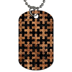 Puzzle1 Black Marble & Brown Stone Dog Tag (one Side) by trendistuff