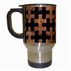 Puzzle1 Black Marble & Brown Stone Travel Mug (white) by trendistuff