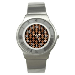 Puzzle1 Black Marble & Brown Stone Stainless Steel Watch by trendistuff