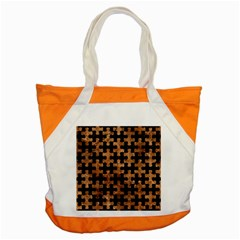 Puzzle1 Black Marble & Brown Stone Accent Tote Bag by trendistuff