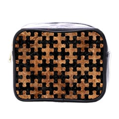 Puzzle1 Black Marble & Brown Stone Mini Toiletries Bag (one Side) by trendistuff