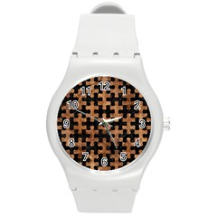 Puzzle1 Black Marble & Brown Stone Round Plastic Sport Watch (m)