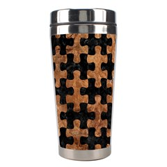 Puzzle1 Black Marble & Brown Stone Stainless Steel Travel Tumbler by trendistuff