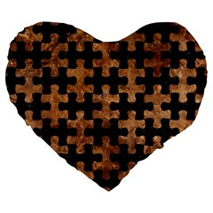 Puzzle1 Black Marble & Brown Stone Large 19  Premium Flano Heart Shape Cushion by trendistuff