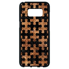 Puzzle1 Black Marble & Brown Stone Samsung Galaxy S8 Black Seamless Case by trendistuff