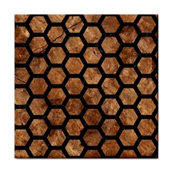 Hexagon2 Black Marble & Brown Stone (r) Tile Coaster by trendistuff