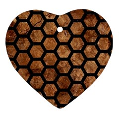 Hexagon2 Black Marble & Brown Stone (r) Ornament (heart) by trendistuff
