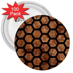Hexagon2 Black Marble & Brown Stone (r) 3  Button (100 Pack) by trendistuff