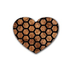 Hexagon2 Black Marble & Brown Stone (r) Rubber Coaster (heart) by trendistuff