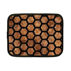 Hexagon2 Black Marble & Brown Stone (r) Netbook Case (small) by trendistuff