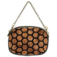Hexagon2 Black Marble & Brown Stone (r) Chain Purse (one Side) by trendistuff