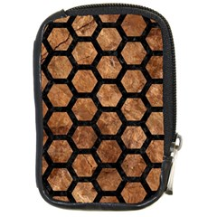 Hexagon2 Black Marble & Brown Stone (r) Compact Camera Leather Case by trendistuff