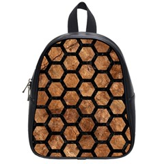 Hexagon2 Black Marble & Brown Stone (r) School Bag (small) by trendistuff