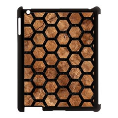 Hexagon2 Black Marble & Brown Stone (r) Apple Ipad 3/4 Case (black) by trendistuff