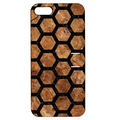 Hexagon2 Black Marble & Brown Stone (r) Apple Iphone 5 Hardshell Case With Stand by trendistuff