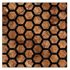 Hexagon2 Black Marble & Brown Stone (r) Large Satin Scarf (square) by trendistuff