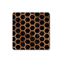 Hexagon2 Black Marble & Brown Stone Magnet (square) by trendistuff