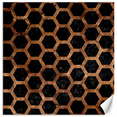 Hexagon2 Black Marble & Brown Stone Canvas 12  X 12  by trendistuff