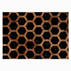 Hexagon2 Black Marble & Brown Stone Large Glasses Cloth (2 Sides) by trendistuff