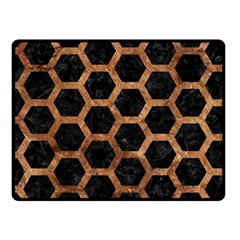 Hexagon2 Black Marble & Brown Stone Fleece Blanket (small) by trendistuff