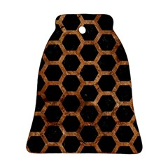 Hexagon2 Black Marble & Brown Stone Bell Ornament (two Sides) by trendistuff